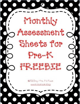 Monthly Assessment Sheets for Pre-K/K ~ Name... by Mrs As Room ...