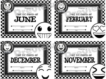 Monthly Attendance Awards ~ Emojis