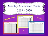 Monthly Attendance Chart 2019 - 2020