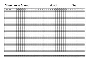 Monthly Attendance Form