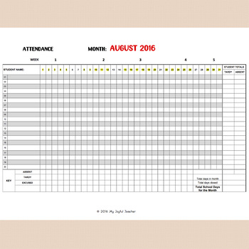 Monthly Attendance Sheet Editable By My Joyful Teacher  Tpt