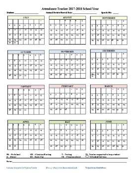 Monthly Attendance Tracker 2017-2018
