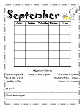 Monthly Behavior Calendar