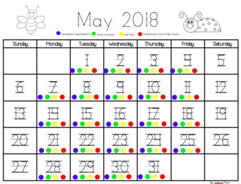 Monthly Behavior Calendar 2017 - 2018 Editable