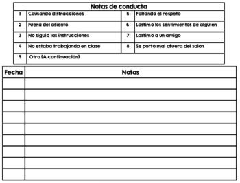 Monthly Behavior Calendar 2018-2019 in SPANISH