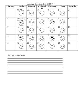 Editable Monthly Behavior Calendar