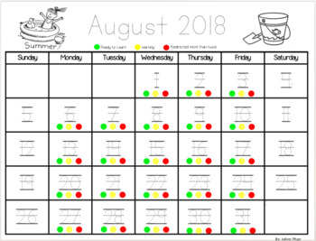 Monthly Behavior Calendar Editable 2017-2018 (Green, Yellow and Red Colors)