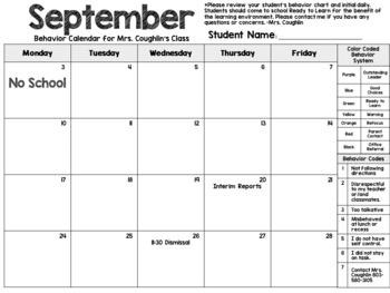 Monthly Behavior Calendar Fully Editable