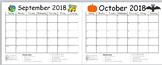 Monthly Behavior Calendar Red, Yellow, Green