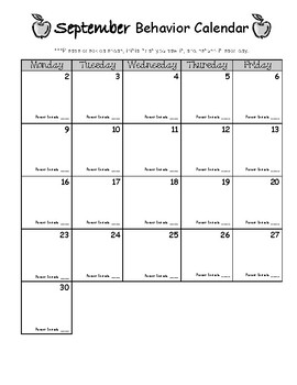 Monthly Behavior Calendar with Clip Art