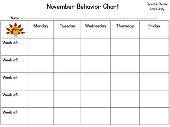 Monthly Behavior Calendars