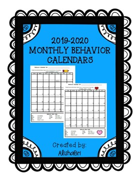 Monthly Behavior Calendars 2017-2018