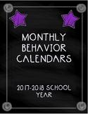 Monthly Behavior Calendars 2017-2018 School Year