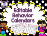 EDITABLE Monthly Behavior Calendars 2019-2020