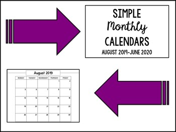 2017-2018 Monthly Calendars