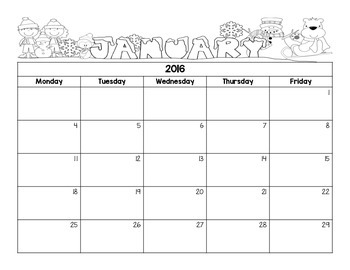 Monthly Behavior Calendars (Blank)