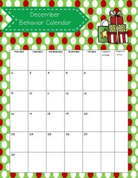 Monthly Behavior Calendars Editable