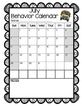 Monthly Behavior Calendars (editable)