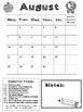 Monthly Behavior Calendars for 2017-2018 **SAMPLE AUGUST ONLY!!