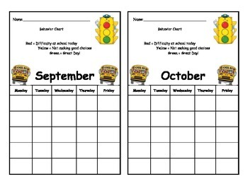 Monthly Behavior Calender - Simple, Two Per Page