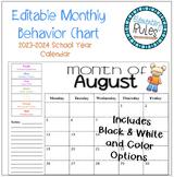 Editable Monthly Behavior Chart 2018-2019 + Back to School
