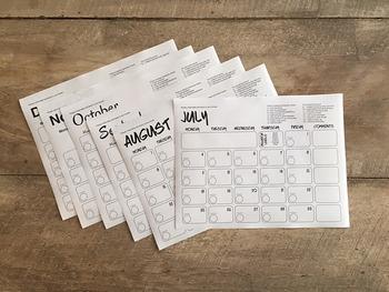 Monthly Behavior Calendar/Log
