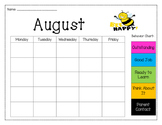 Monthly Behavior Chart Recording Calendar