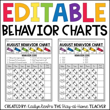 EDITABLE Monthly Behavior Charts