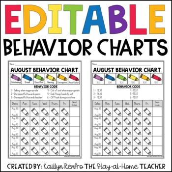 EDITABLE Monthly Behavior Calendars 2018-2019