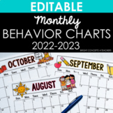 Monthly Behavior Charts & Calendars {EDITABLE}