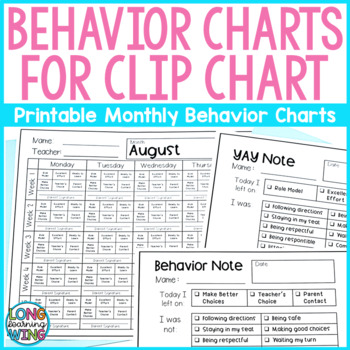 Monthly Behavior Charts For Clip Chart EDITABLE By Longwing Learning