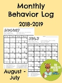 Monthly Behavior Log 2018-2019 School Year
