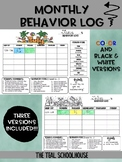Monthly Behavior Log (3 versions included color coded options)
