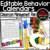 Editable Monthly Behavior Plan, Calendars, Think Sheets, and Clip Chart System