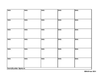 Monthly Behavior Sheet - Easy to fill out