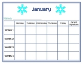 Monthly Behavior Tracking Sheets