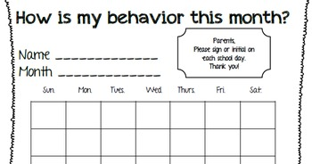 Monthly Behavior log with rewards and quick talk