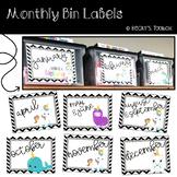 Monthly Bin Labels ~ Unicorn ~ Editable