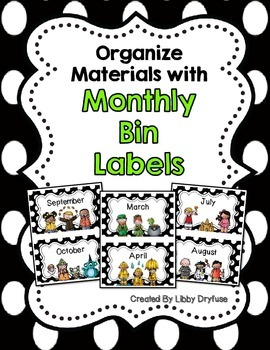 Monthly Bin Lables {Black and White Polka Dot}