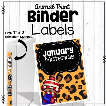 Monthly Binder Covers in Animal Print