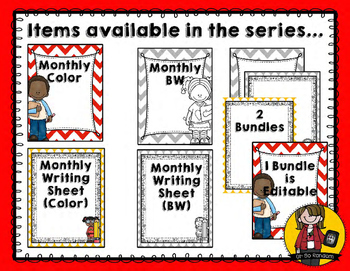 Monthly Binder Covers | BW