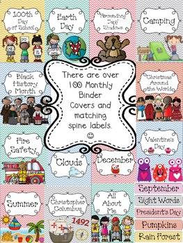 """Monthly Bright Chevron Teacher Binder Covers and 1""""& 2"""" Spines & Editable Pages"""