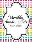 Monthly Binder Labels - Rainbow! {GET ORGANIZED}