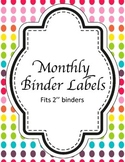 Monthly Binder Labels - Rainbow! {GET ORGANIZED}