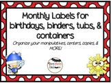Monthly Binder, bin, and tub labels