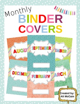 Monthly Binder cover Labels