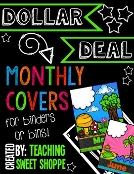 {DOLLAR DEAL} Monthly Binder or Bin Covers!