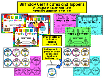 Monthly Birthday Display with Certificates and Toppers