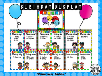 Vietnamese Monthly Birthday Display with Certificates and Toppers