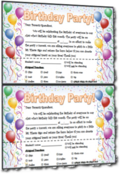 Monthly Birthday Party Donation Request Notice